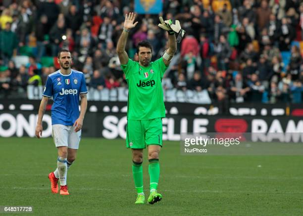 Gianluigi Buffon and Leonardo Bonucci during Serie A match between Udinese v Juventus in Udine on March 25 2017