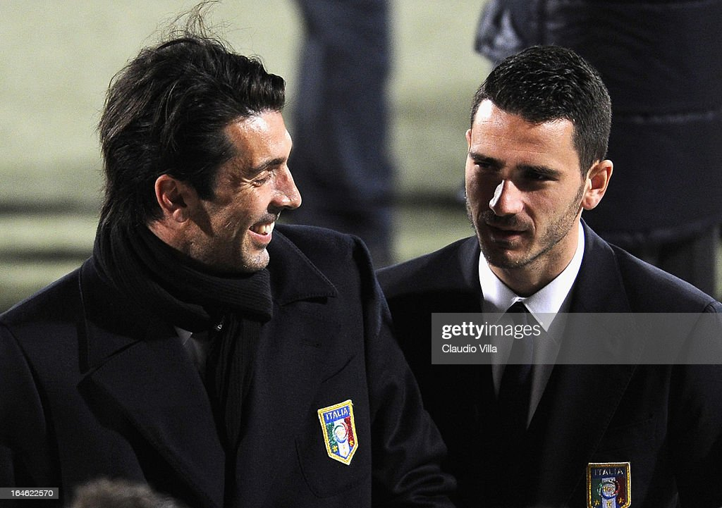 <a gi-track='captionPersonalityLinkClicked' href=/galleries/search?phrase=Gianluigi+Buffon&family=editorial&specificpeople=208860 ng-click='$event.stopPropagation()'>Gianluigi Buffon</a> (L) and <a gi-track='captionPersonalityLinkClicked' href=/galleries/search?phrase=Leonardo+Bonucci&family=editorial&specificpeople=6166090 ng-click='$event.stopPropagation()'>Leonardo Bonucci</a> of Italy inspect the pitch ahead of the FIFA 2014 World Cup qualifier match between Malta and Italy at Ta' Qali Stadium on March 25, 2013 in Valletta, Malta.
