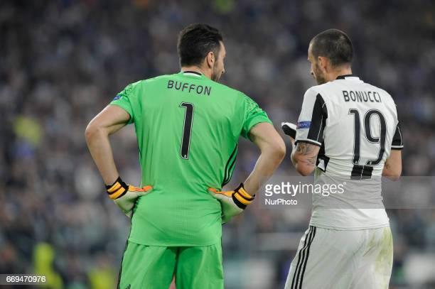 Gianluigi Buffon and Leonardo Bonucci of Juventus during the Uefa Champions League 20162017 match between FC Juventus and FC Barcelona at Juventus...