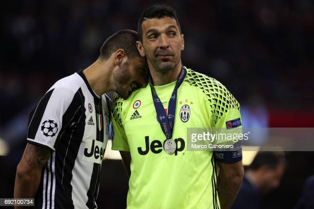 Gianluigi Buffon and Leonardo Bonucci of Juventus FC disappointed during the UEFA Champions League final match between Juventus FC and Real Madrid CF...