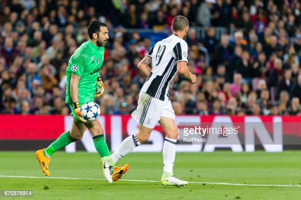 Gianluigi Buffon and Leonardo Bonucci of Juventus FC during the UEFA Champions League Quarter Final second leg match between FC Barcelona and...