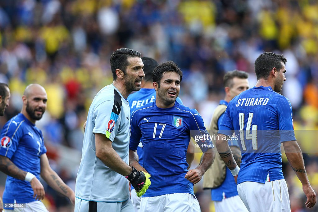 Gianluigi Buffon and Martins Eder of Italy celebrate the victory after the UEFA EURO 2016 Group E match between Italy and Sweden at Stadium Municipal on June 17, 2016 in Toulouse, France.