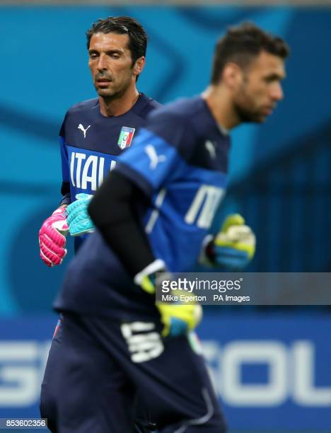 Gianluigi Buffon and Salvatore Sirigu during a training session at the Arena da Amazonia Manaus