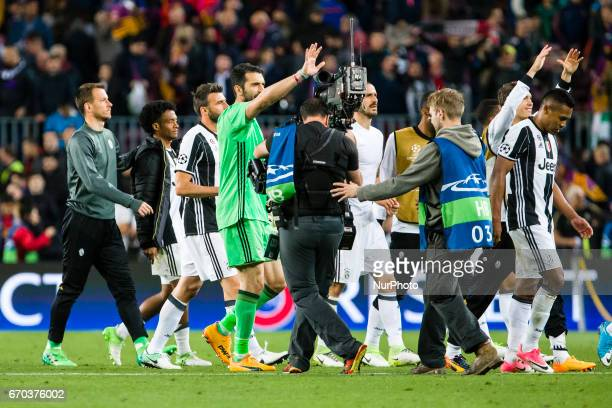 Gianluigi Buffon at the end of the UEFA Champions League Quarter Final second leg match between FC Barcelona and Juventus at Camp Nou Stadium on...