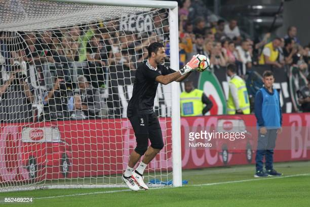 Gianluigi Buffon before the Serie A football match between Juventus FC and Torino FC at Allianz Stadium on 23 September 2017 in Turin Italy
