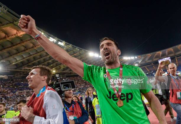 Gianluigi Buffon celebrates after winning the TIM Cup Final match against SS Lazio during the Tim Cup football match FC Juventus vs SS Lazio at the...