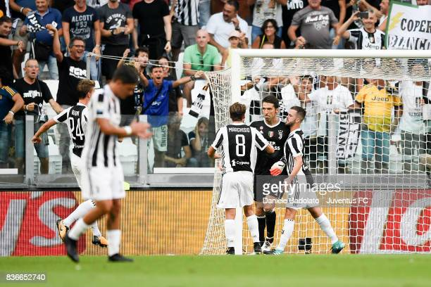 Gianluigi Buffon celebrates during the Serie A match between Juventus and Cagliari Calcio at Allianz Stadium on August 19 2017 in Turin Italy