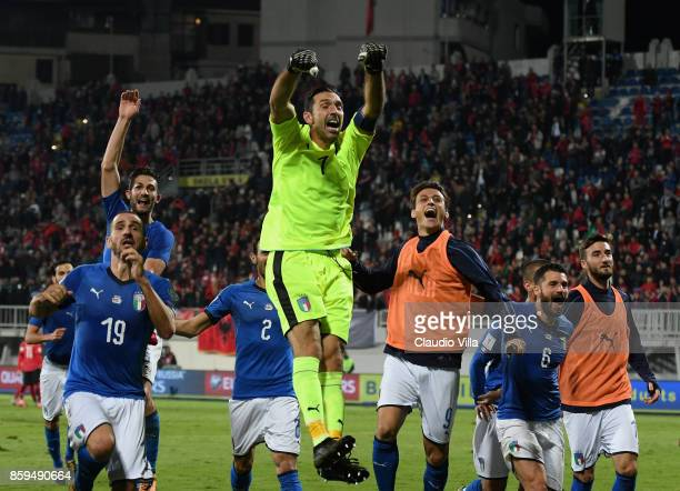 Gianluigi Buffon celebrates his teams win after the FIFA 2018 World Cup Qualifier between Albania and Italy at Loro Borici Stadium on October 9 2017...