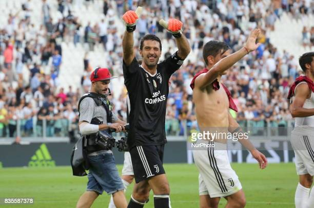 Gianluigi Buffon celebrates the victory after the Serie A football match between Juventus FC and Cagliari Calcio at Allianz Stadium on august 19 2017...