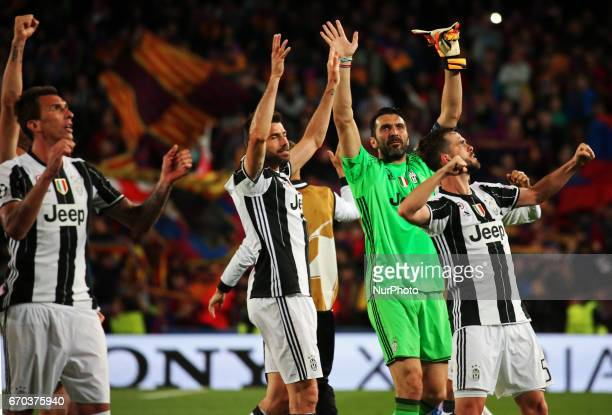 Gianluigi Buffon celebration at the end of the UEFA Champions League match between FC Barcelona v PSG in Barcelona on march 08 2017