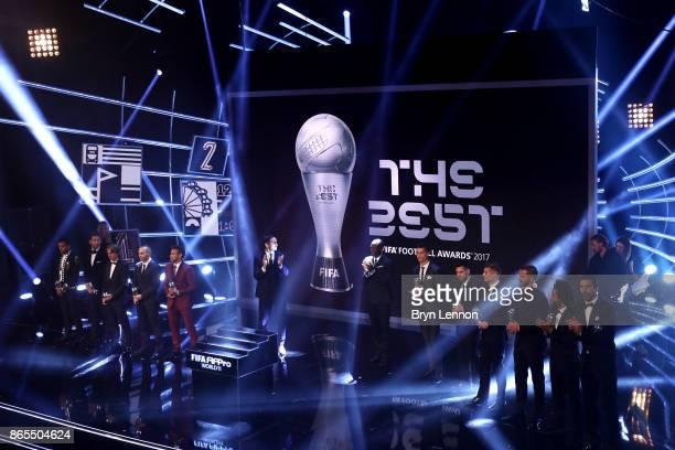 Gianluigi Buffon Dani Alves Leonardo Bonucci Sergio Ramos Marcelo Luka Modric Toni Kroos Andres Iniesta Lionel Messi Cristiano Ronaldo and Neymar are...