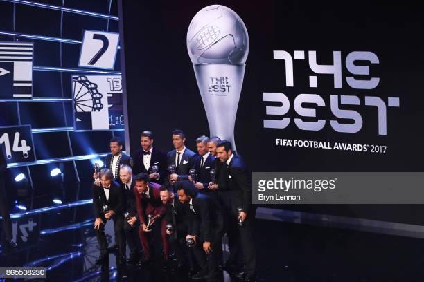 Gianluigi Buffon Dani Alves Leonardo Bonucci Sergio Ramos Marcelo Luka Modric Toni Kroos Andres Iniesta Lionel Messi Cristiano Ronaldo and Neymar...