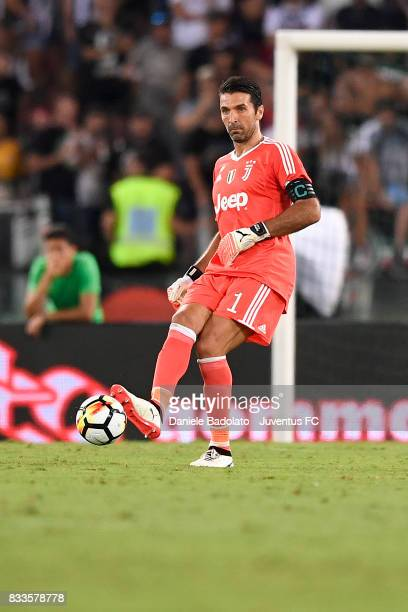 Gianluigi Buffon during the Italian Supercup match between Juventus and SS Lazio at Stadio Olimpico on August 13 2017 in Rome Italy