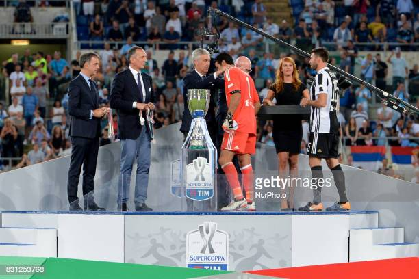 Gianluigi Buffon during the Italian SuperCup TIM football match Juventus vs lazio on August 13 2017 at the Olympic stadium in Rome