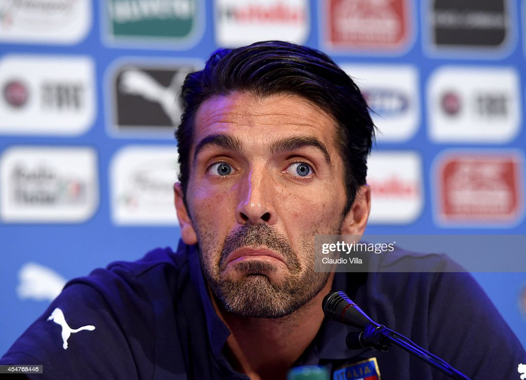 <a gi-track='captionPersonalityLinkClicked' href=/galleries/search?phrase=Gianluigi+Buffon&family=editorial&specificpeople=208860 ng-click='$event.stopPropagation()'>Gianluigi Buffon</a> during the Italy Press Conference at Coverciano on September 6, 2014 in Florence, Italy.