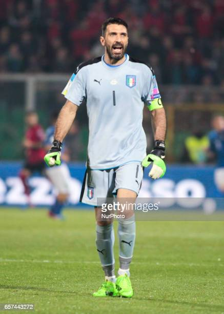 Gianluigi Buffon during the match to qualify for the Football World Cup 2018 between Italia v Albania in Palermo on March 24 2017