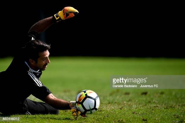 Gianluigi Buffon during the morning training session at Juventus Center Vinovo on August 16 2017 in Vinovo Italy