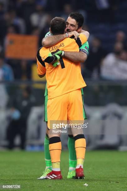 Gianluigi Buffon goalkeeper of Juventus FC and Porto's Spanish goalkeeper Iker Casillas during the UEFA Champions League Round of 16 1st leg soccer...