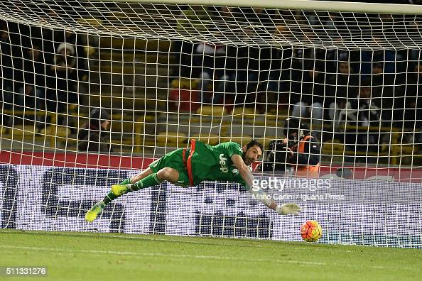 Gianluigi Buffon goalkeeper of Juventus FC saves an attempt on goal during the Serie A match between Bologna FC and Juventus FC at Stadio Renato...