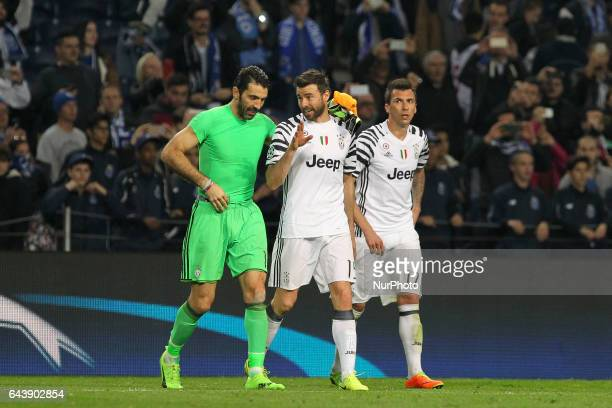 Gianluigi Buffon goalkeeper of Juventus FC with Andrea Barzagli defender of Juventus FC and Mario Mandzukic forward of Juventus FC during the UEFA...