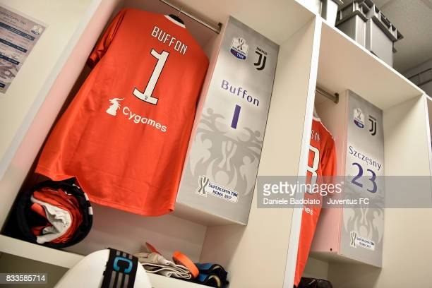 Gianluigi Buffon jersey in the Juventus dressing room before the Italian Supercup match between Juventus and SS Lazio at Stadio Olimpico on August 13...