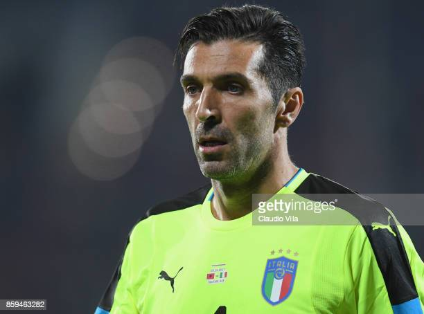 Gianluigi Buffon looks on during the FIFA 2018 World Cup Qualifier between Albania and Italy at Loro Borici Stadium on October 9 2017 in Shkoder...