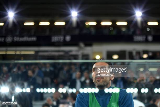Gianluigi Buffon looks on during the Serie A match between Juventus and ACF Fiorentina on September 20 2017 in Turin Italy