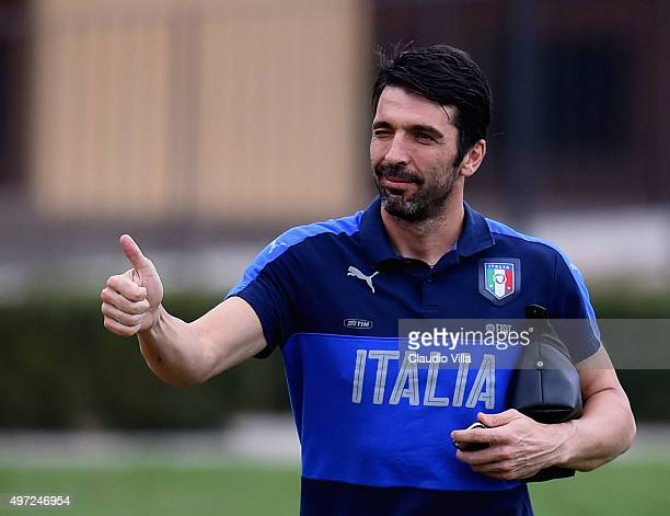 Gianluigi Buffon looks on prior to the training session at Coverciano on November 15 2015 in Florence Italy