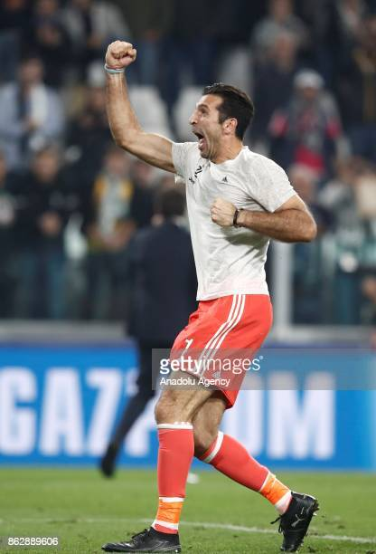 Gianluigi Buffon of FC Juventus celebrates after winning the UEFA Champions League group D football match between FC Juventus and Sporting CP with...