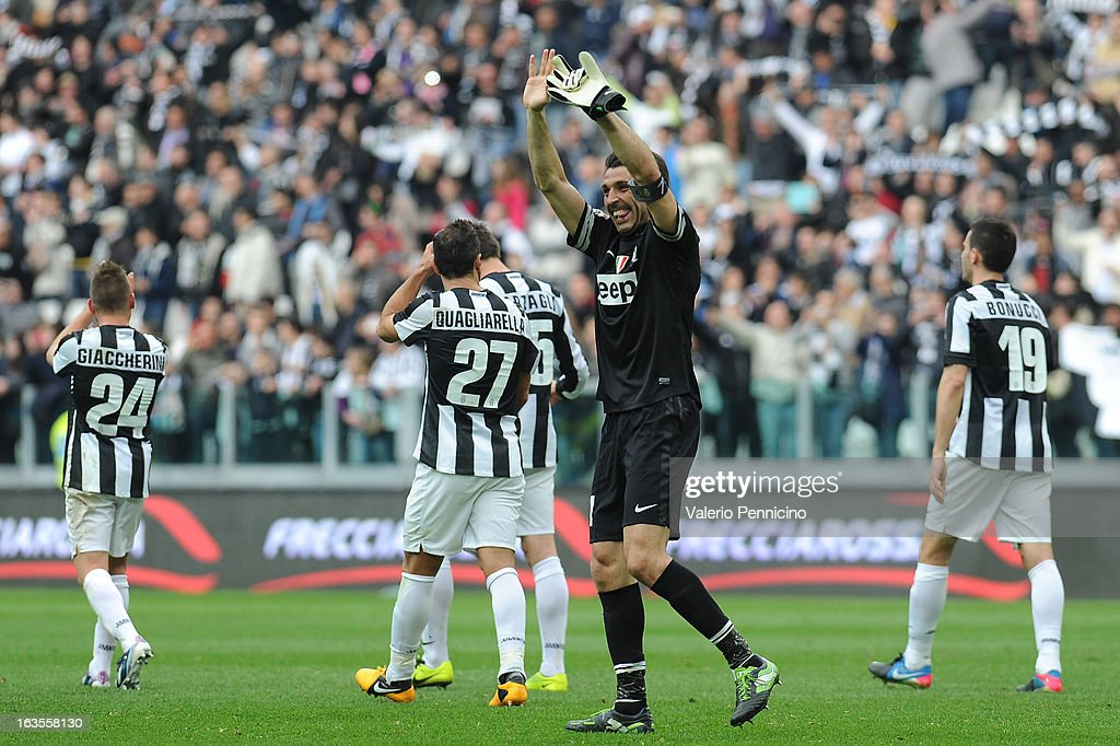 Gianluigi Buffon of FC Juventus celebrates victory at the end of the Serie A match between FC Juventus and Calcio Catania at Juventus Arena on March 10, 2013 in Turin, Italy.