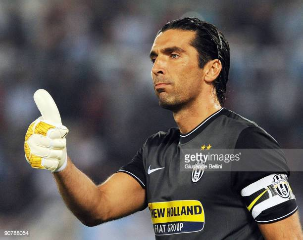 Gianluigi Buffon of FC Juventus during the Serie A match between SS Lazio v FC Juventus at Stadio Olimpico on September 12 2009 in Rome Italy