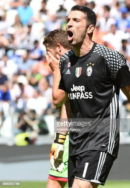 Gianluigi Buffon of FC Juventus gestures during Italian Serie A football match between Juventus and FC Crotone at Juventus Stadium in Turin Italy on...