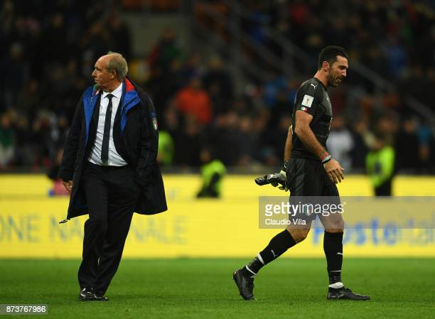 Gianluigi Buffon of Italy and Head coach Italy Gian Piero Ventura dejected at the end of the FIFA 2018 World Cup Qualifier PlayOff Second Leg between...