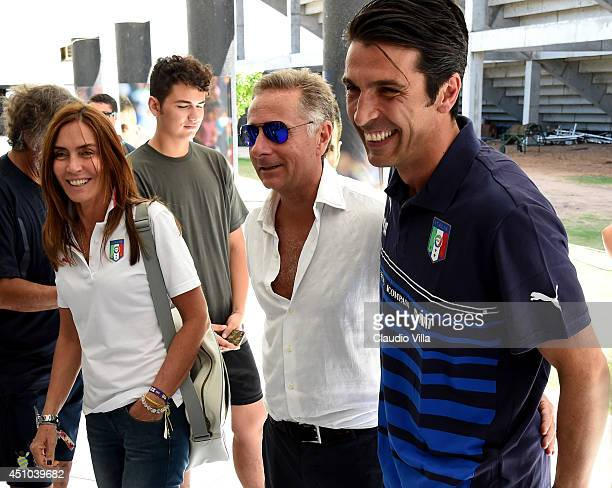 Gianluigi Buffon of Italy and Paolo Bonolis prior to the press conference on June 22 2014 in Natal Brazil