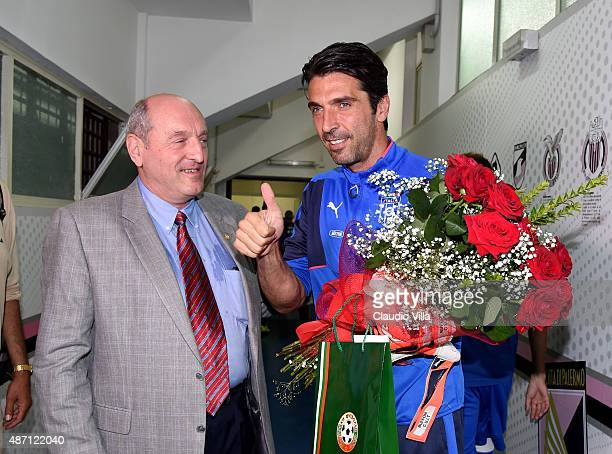 Gianluigi Buffon of Italy and Vice President Bularia Federation Michail Kassabov attend prior to the UEFA EURO 2016 Qualifier match between Italy and...