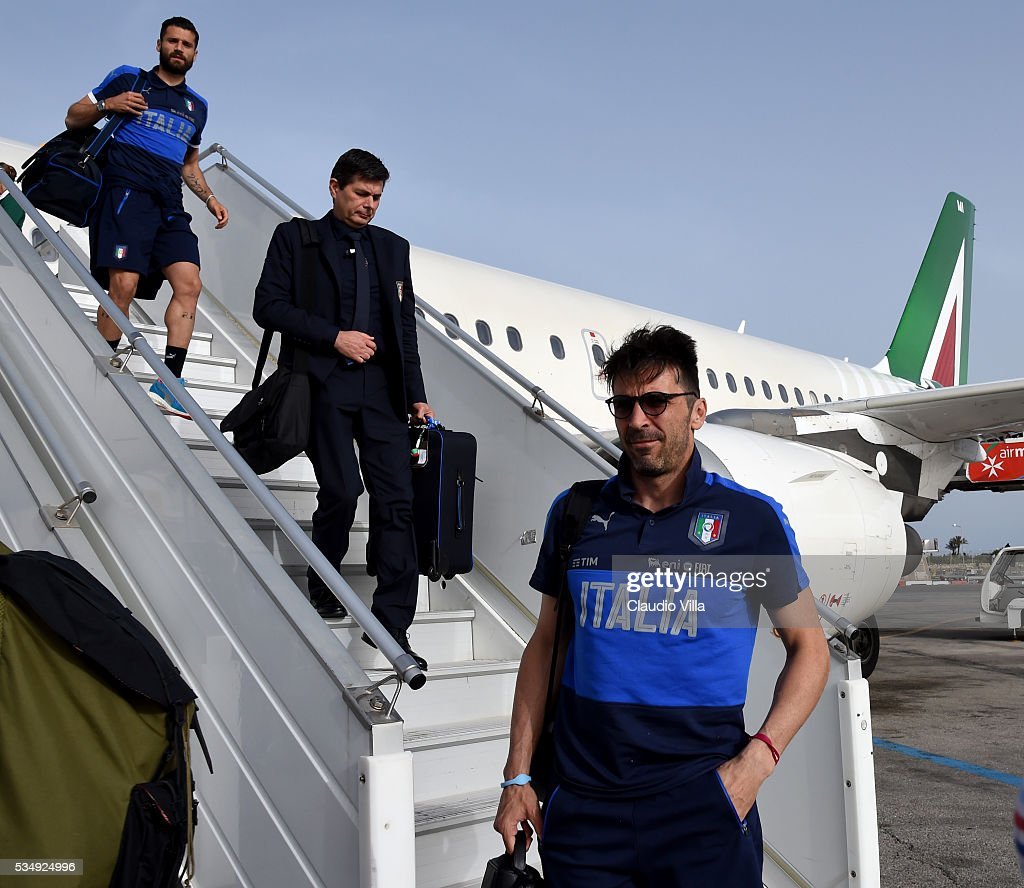 <a gi-track='captionPersonalityLinkClicked' href=/galleries/search?phrase=Gianluigi+Buffon&family=editorial&specificpeople=208860 ng-click='$event.stopPropagation()'>Gianluigi Buffon</a> of Italy arrives at Malta Airport on May 28, 2016 in Malta, Malta.