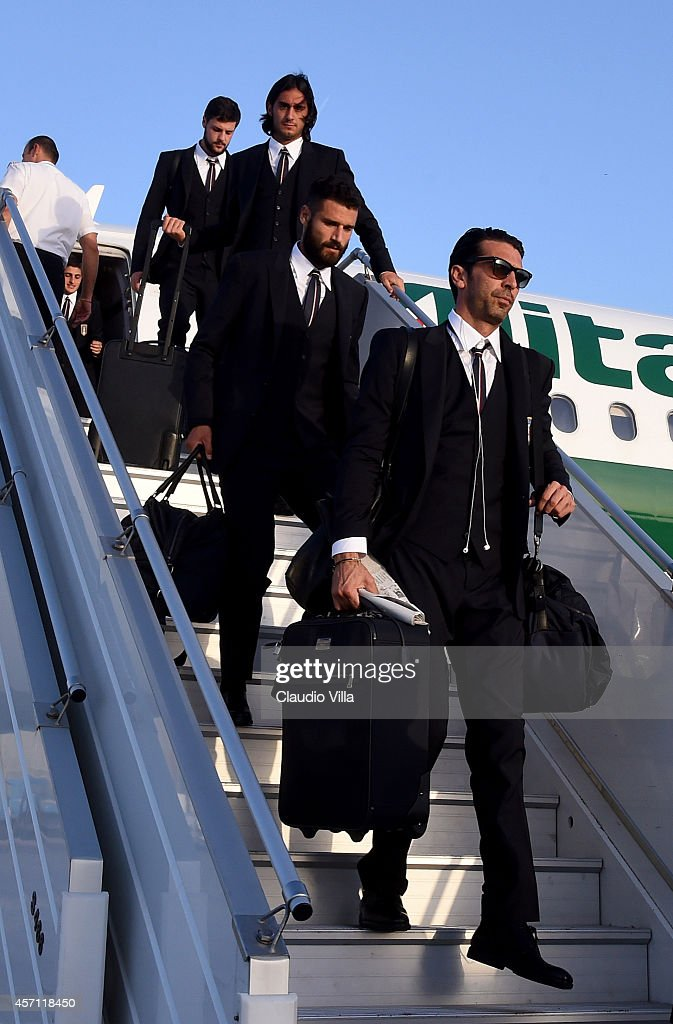 Gianluigi Buffon of Italy arrives in Malta ahead of their EURO 2016 Group H Qualifier match against Malta on October 12 2014 in Malta Malta