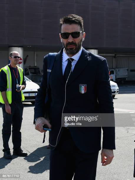 Gianluigi Buffon of Italy arrives to Florence Airport on March 25 2017 in Florence Italy