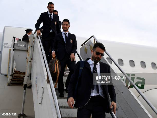 Gianluigi Buffon of Italy arrives to Palermo on March 23 2017 in Palermo Italy