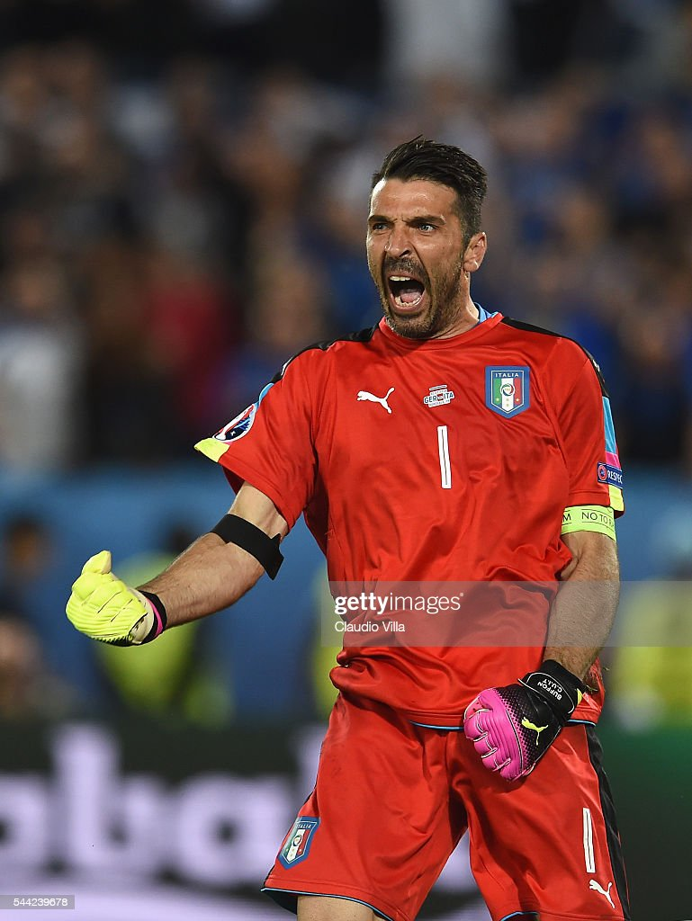 Gianluigi Buffon of Italy celebrates after his saves the penalty by Thomas Mueller of Germany at the penalty shootout during the UEFA EURO 2016...