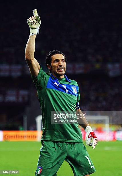 Gianluigi Buffon of Italy celebrates after Italy win during the UEFA EURO 2012 quarter final match between England and Italy at The Olympic Stadium...