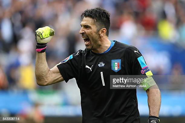 Gianluigi Buffon of Italy celebrates at th end of the UEFA Euro 2016 Round of 16 match between Italy and Spain at Stade de France on June 27 2016 in...
