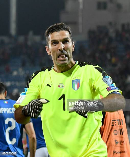 Gianluigi Buffon of Italy celebrates at the end of the FIFA 2018 World Cup Qualifier between Albania and Italy at Loro Borici Stadium on October 9...