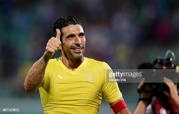 Gianluigi Buffon of Italy celebrates at the end of the UEFA EURO 2016 Qualifier match between Italy and Bulgaria on September 6 2015 in Palermo Italy