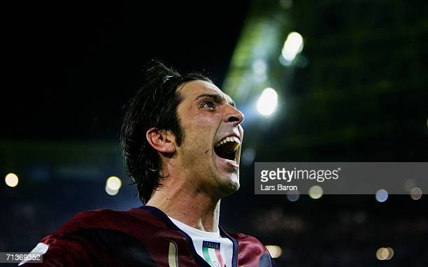 Gianluigi Buffon of Italy celebrates during the FIFA World Cup Germany 2006 Semifinal match between Germany and Italy played at the Stadium Dortmund...