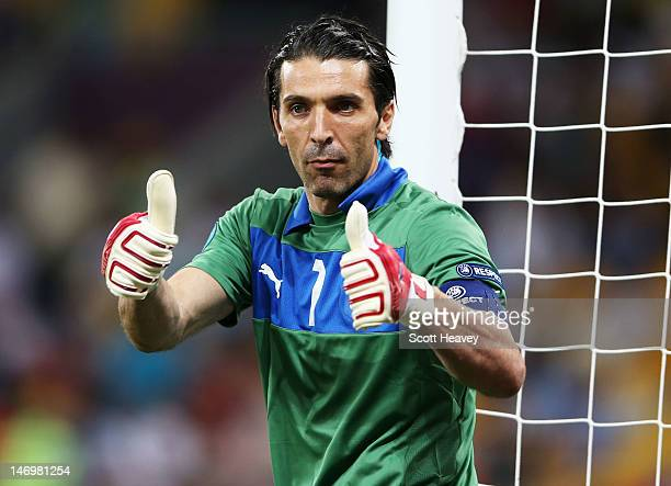 Gianluigi Buffon of Italy celebrates during the UEFA EURO 2012 quarter final match between England and Italy at The Olympic Stadium on June 24 2012...