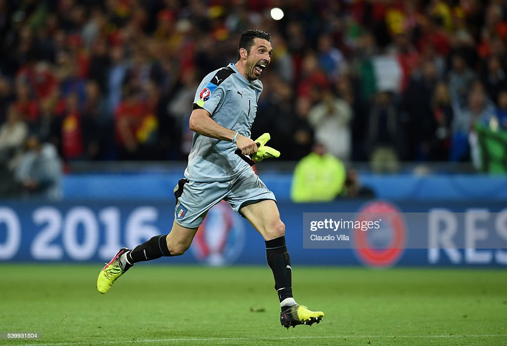 Gianluigi Buffon of Italy celebrates his team's 2-0 win after the UEFA EURO 2016 Group E match between Belgium and Italy at Stade des Lumieres on June 13, 2016 in Lyon, France.