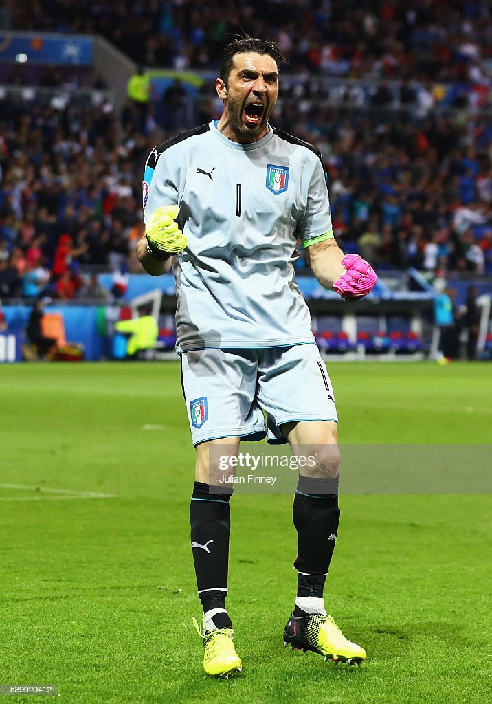 <a gi-track='captionPersonalityLinkClicked' href=/galleries/search?phrase=Gianluigi+Buffon&family=editorial&specificpeople=208860 ng-click='$event.stopPropagation()'>Gianluigi Buffon</a> of Italy celebrates his team's first goal during the UEFA EURO 2016 Group E match between Belgium and Italy at Stade des Lumieres on June 13, 2016 in Lyon, France.