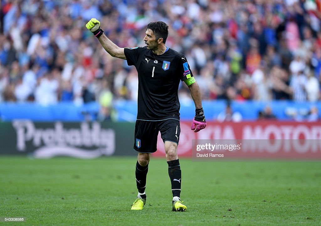 <a gi-track='captionPersonalityLinkClicked' href=/galleries/search?phrase=Gianluigi+Buffon&family=editorial&specificpeople=208860 ng-click='$event.stopPropagation()'>Gianluigi Buffon</a> of Italy celebrates his team's second goal during the UEFA EURO 2016 round of 16 match between Italy and Spain at Stade de France on June 27, 2016 in Paris, France.