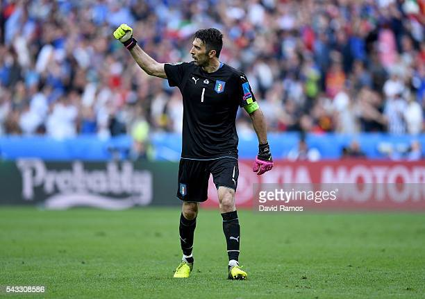 Gianluigi Buffon of Italy celebrates his team's second goal during the UEFA EURO 2016 round of 16 match between Italy and Spain at Stade de France on...